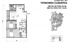 Mặt bằng thiết kế căn 2 phòng ngủ A1 – Vinhomes Gardenia